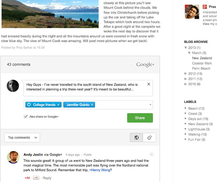 Google+ Comments gets unveiled, Live on Blogger Blogs