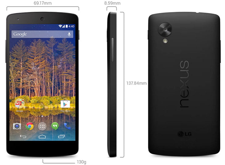 Google finally unveils the LG Nexus 5 – 5 inch Full HD display, Android 4.4, Quad-core CPU