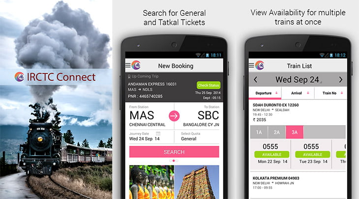 IRCTC launches its Official Android App – IRCTC Connect