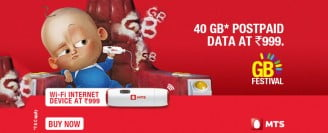 MTS India GB Festival - Gives 40 GB Data for Rs 999 & other Offers