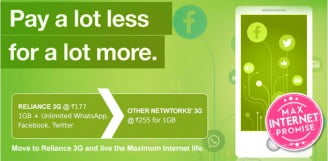 Reliance 3G now at Rs 177 for 1GB Data Usage & Unlimited Social Media