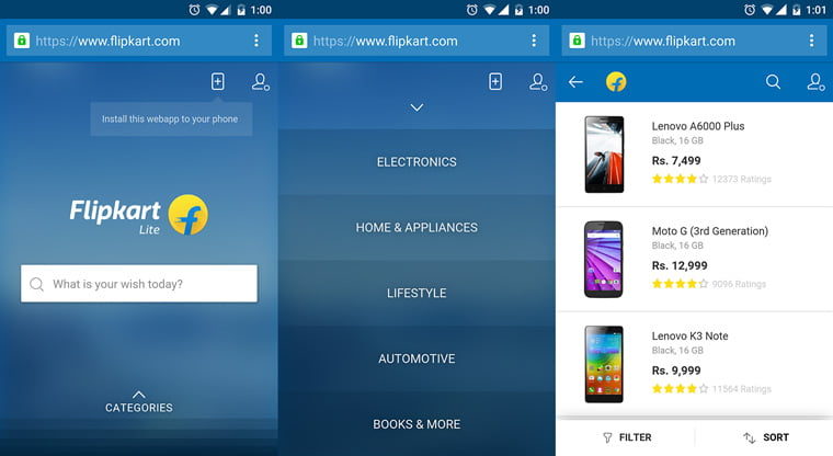 Flipkart comes back with its Mobile Website – launches Flipkart Lite