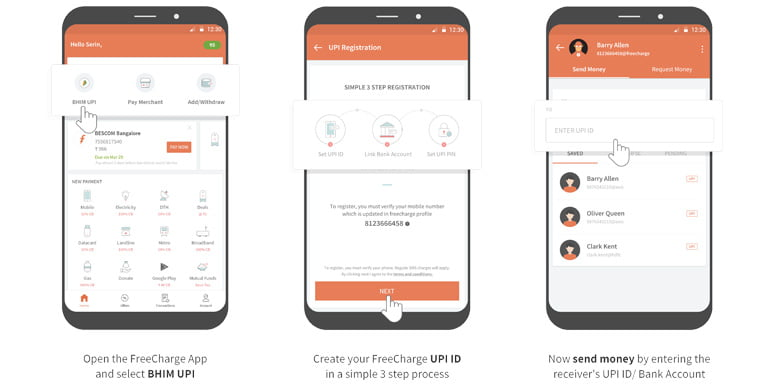FreeCharge BHIM UPI on Android application